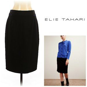 ELIE TAHARI Black Skirt With Blue Piping